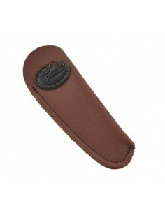 Leather pocket sheath with medallion logo - Brown