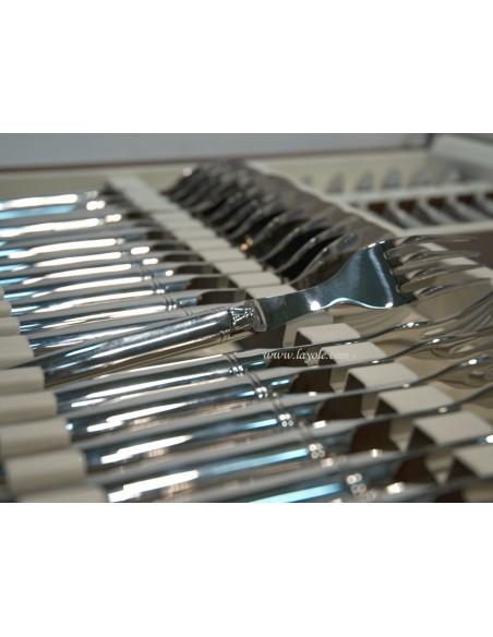 Ménagère tout inox, lave-vaisselle, 48 pièces en mallette bois massif