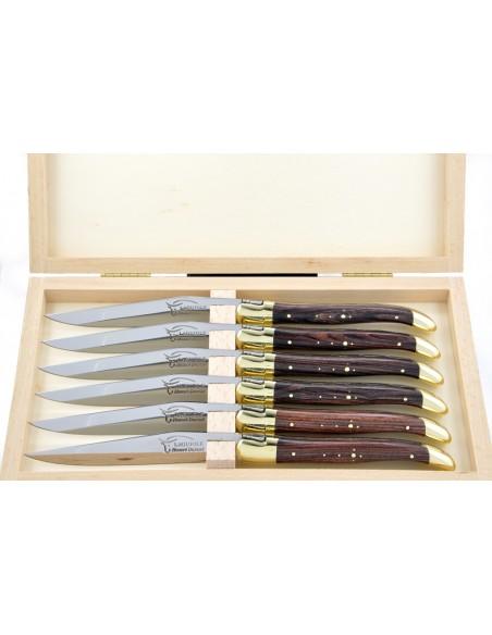 Couteaux de table (couteaux à steak), finition gamme courante, mitres laiton