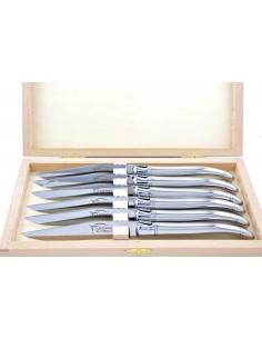 Couteaux de table (couteaux à steak), finition tout inox, plein manche brillant