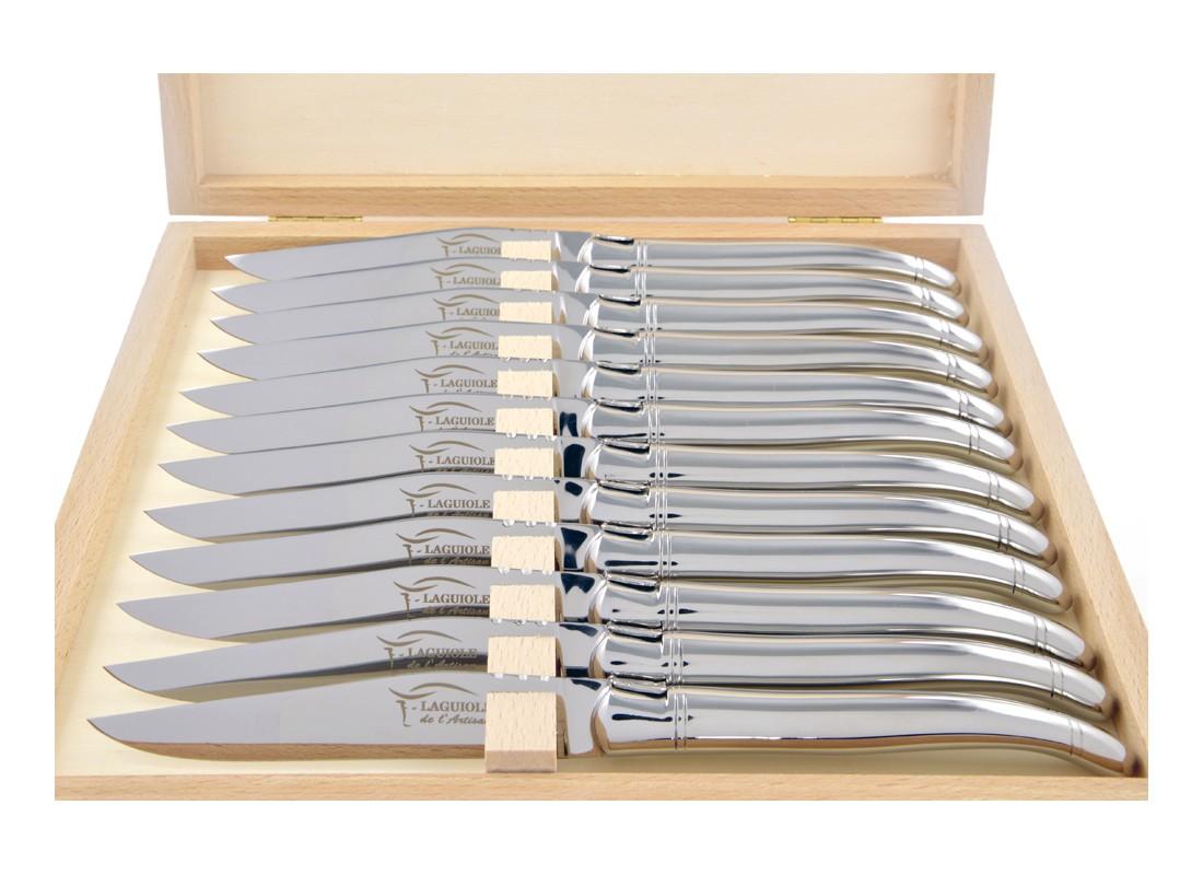Coffret de v ritables couteaux steak laguiole tout inox - Couteau de table laguiole ...