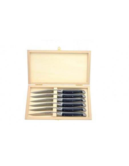 Couteaux de table (couteaux à steak), finition gamme prestige, mitres inox mat, manche pointe de corne (foncée)