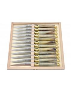 Couteaux de table (couteaux à steak), finition gamme prestige, mitres laiton, manche pointe de corne (claire)