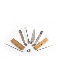 Laguiole im Bausatz, 12cm, Geschweißte Biene, Edelstahl XC75, Heftbacken aus Edelstahl, Griff aus Wacholderholz