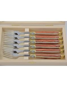 Fourchettes de table, mitres laiton, gamme prestige, manche bois de rose