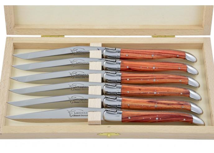Couteaux de table (couteaux à steak), finition gamme courante, mitres inox brillant, manche bois de rose