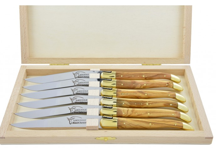 Couteaux de table (couteaux à steak), finition gamme courante, mitres laiton, manche bois d'olivier