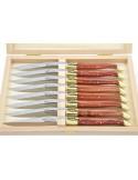 Couteaux de table (couteaux à steak), finition gamme courante, mitres laiton, manche bois de rose