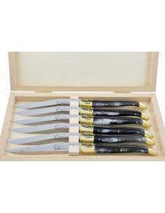 Couteaux de table (couteaux à steak), finition gamme courante, mitres laiton, manche corne (pressée)