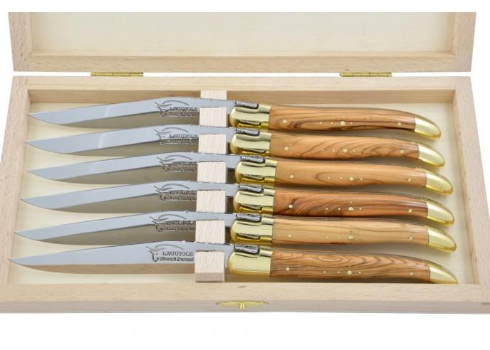 Couteaux de table (couteaux à steak), finition gamme prestige, mitres laiton, manche bois d'olivier