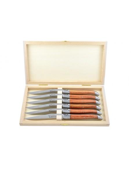 Couteaux de table (couteaux à steak), finition gamme prestige, mitres inox mat, manche bois de rose