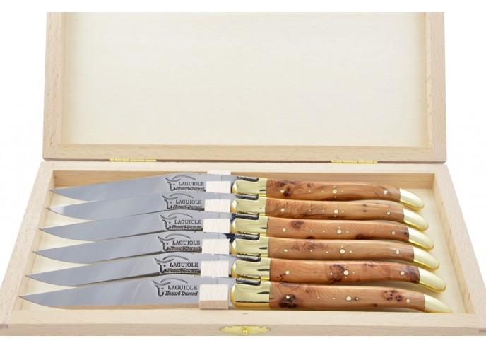 Couteaux de table (couteaux à steak), finition gamme prestige, mitres laiton, manche genévrier cade