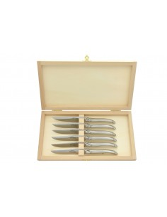 Laguiole cheese and desserts knives. Full shiny stainless steel handles. Dishwasher safe.