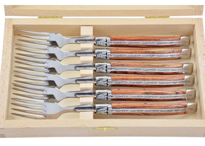 Fourchettes de table, mitres inox brillant, gamme courante, manche bois de rose