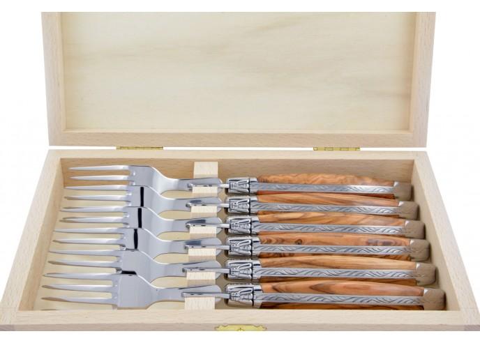 Fourchettes de table, mitres inox brillant, gamme prestige, manche bois d'olivier