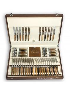 Ménagère prestige, 48 pièces manches en bois divers, avec mitres inox