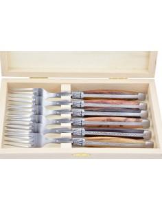 Coffret de fourchettes de table Laguiole, finition inox brossé, manche galbé en bois divers