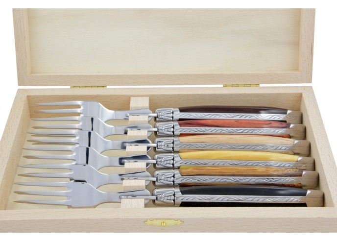 Coffret de fourchettes de table Laguiole, finition inox brillant, manche galbé en bois divers