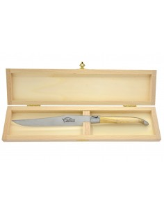 Couteau à découper Laguiole. Manche fin en bois d'olivier avec deux mitres inox brossé (mat)