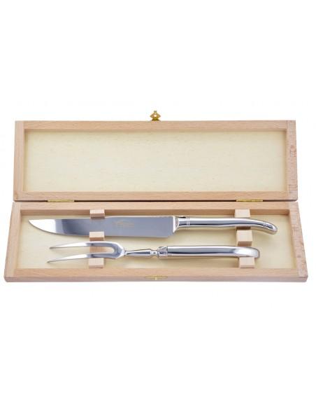 Service à découper Laguiole. Couteau & fourchette tout inox brillant, lavables en machine