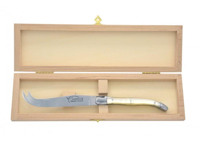 Couteau à fromage Laguiole. Finition inox brillant, manche fin en bois de rose