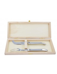 Service à fromage Laguiole. Couteau et fourchette tout inox brillant, lavables en machine