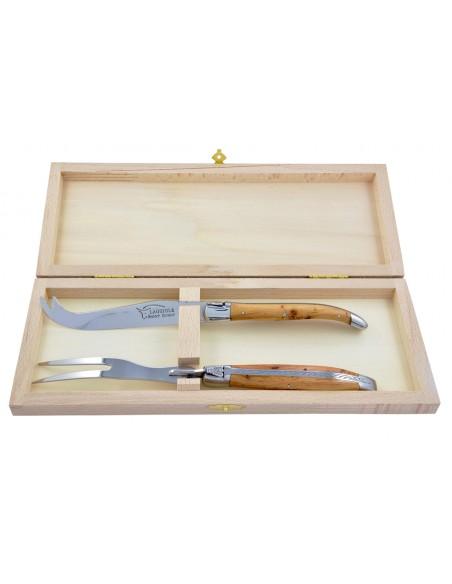 Service à fromage Laguiole. Couteau et fourchette finition brillant, manche galbé en bois