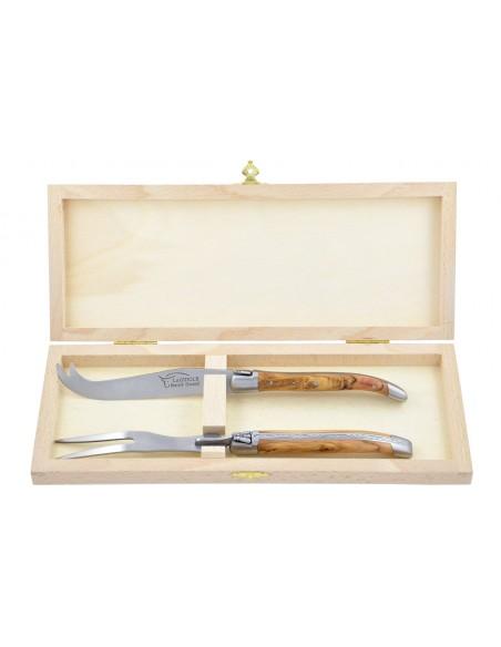 Service à fromage Laguiole. Couteau et fourchette finition mat, manche galbé en bois d'olivier