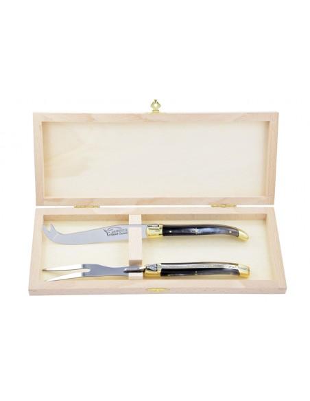 Service à fromage Laguiole. Couteau et fourchette finition laiton, manches fin en bois de rose