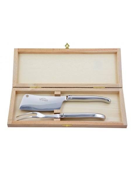Service à fromage Laguiole. Couperet et fourchette tout inox brillant, lavables en machine