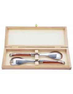 Service à salade Laguiole. Fourchette et cuillère finition inox brillant, manches fins en bois de