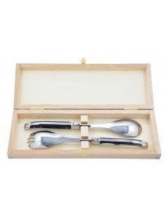 Laguiole salad server, fork and spoon with shiny stainless steel bolsters. Slim compressed horn handles