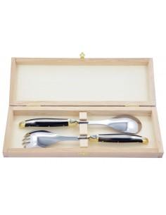 Service à salade Laguiole. Fourchette et cuillère finition inox brillant, manches galbés en bois de