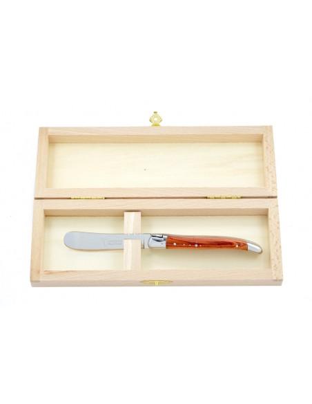 Couteau à beurre Laguiole. Finition inox brillant avec manche galbé en bois de