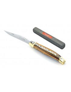 Laguiole 11 cm abeille forgée, mitres laiton, manche bois de pistachier & pierre spéciale couteaux