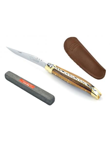 Laguiole abeille forgée 11 cm, mitres laiton, manche bois de pistachier & étui poche en cuir & pierre spéciale couteaux