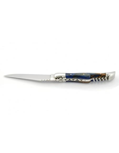Laguiole pliant, 12 cm,  abeille forgée, lame & tire-bouchon, mitres inox brillant, manche en Hêtre teinté bleu