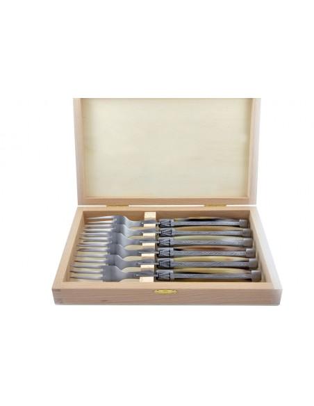 Coffret de fourchettes de table Laguiole, finition inox brossé, manche galbé en pointe de corne claire
