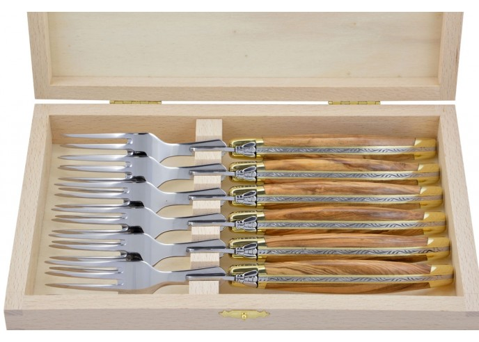 Coffret de fourchettes de table Laguiole, finition laiton, manche galbé en bois d'olivier