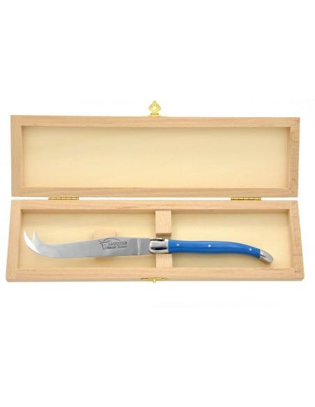 Couteau à fromage Laguiole. Finition inox brillant, manche en corian bleu, lavable en machine