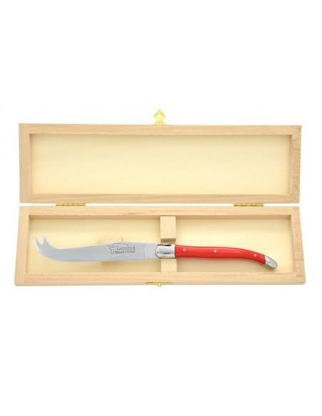 Couteau à fromage Laguiole. Finition inox brillant, manche en corian rouge, lavable en machine