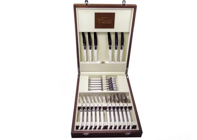 Ménagère Laguiole,  24 pièces avec manche corian blanc et mitres inox brillant, lavables en machine, mallette bois massif