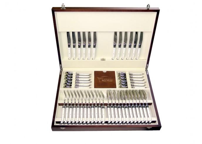 Ménagère Laguiole, 48 pièces avec manche corian blanc et mitres inox brillant, lavables en machine, mallette bois massif