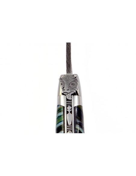 Laguiole pliant, 12 cm, lame seule acier Damas Sauvage, abeille tête de taureau, manche molaire de mammouth
