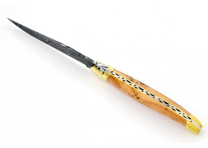 Laguiole pliant, 13 cm, abeille forgée, lame seule en acier Damas, mitres laiton, manche en genévrier cade