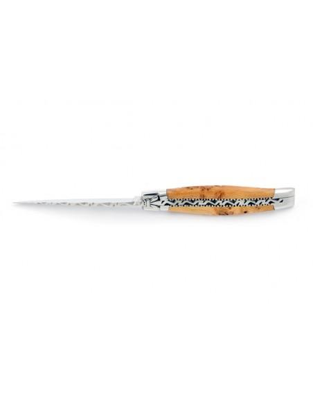Laguiole pliant, 10 cm, abeille forgée, lame seule, ciselé dessus dessous, mitres inox brillant, manche en genévrier cade