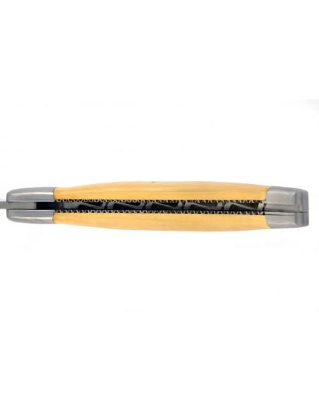 Laguiole pliant, 13 cm, abeille forgée, lame seule, ciselé dessus dessous, mitres inox mat, manche en buis