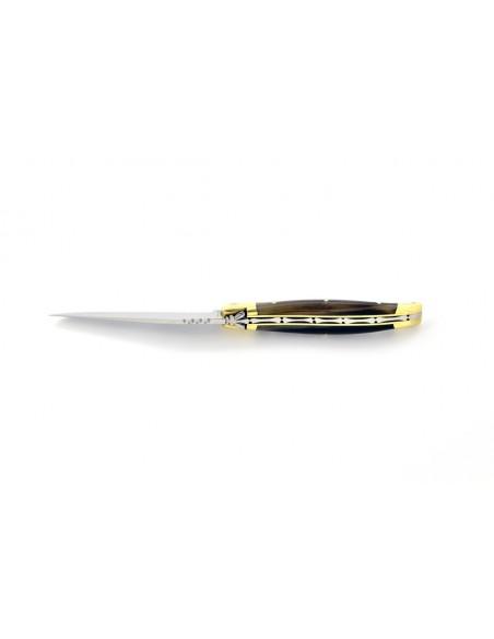 Laguiole pliant, 10 cm, abeille forgée, lame seule, manche en pointe de corne (claire)