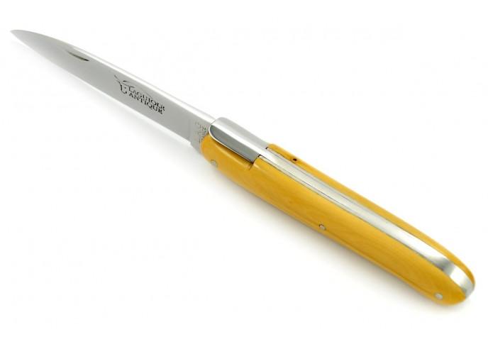 """Laguiole pliant """"Antique"""" 12 cm, abeille forgée lisse, plein manche inox brillant, manche buis"""