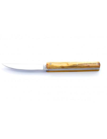 """Laguiole pliant modèle """"Aubrac"""", 11 cm, sans abeille, manche bois de pistachier"""